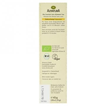 Alnatura Bio Fenchel-Anis-Kümmel Tee, 20 Beutel, 6er Pack (6 x 45 g) -
