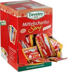 Develey Mittelscharfer Senf Portionsbeutel, 100er Pack (100 x 15 ml) -