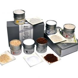 direct&friendly 6 Kontinente Salzbar Geschenkset mit unterschiedlichen Natursalzen aus aller Welt - Tibetsalz, Rosensalz, Utah Sweet Salt, Meersalz, Rotes Hawaii Salz, Kalahari Wüstensalz -