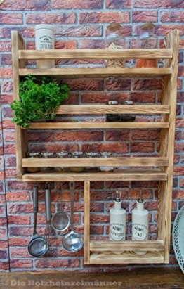 Gewürzregal aus Holz mit noch mehr Platz - hergestellt aus recyceltem Altholz - Upcycling Regal - -