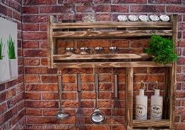 Gewürzregal aus Holz mit viel Platz - hergestellt aus recyceltem Altholz - Upcycling Regal - -