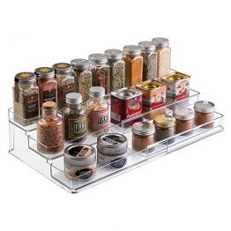 mDesign Gewürzregal für Küchenschrank und Arbeitsfläche – ausziehbarer Gewürzständer aus Metall für Ordnung in der Küche – praktischer Küchen-Organizer auf 3 Ebenen – durchsichtig -