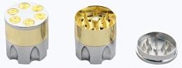 Mysale24 I Grinder | Revolvertrommel-Design I 3 Layers I Crusher Mühle | Silber/Gold -