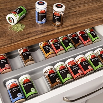ORGA-BOX® Gewürzgläsereinsatz Gewürzdoseneinsatz / 486 x 28 x 473 mm / silbergrau / für 60er Schublade z.B. Nobilia ab 2013 -