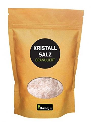Salzkristall-granuliert 1000g in einem Zip Beutel Körnung 1-3mm aus den Minen der Salt Range 'Ein Vorgebirge des Himalaya' rosa Kristallsalz, geeignet für Salzmühlen, geprüfte Qualität, Salz,Himalaya Salz, Steinsalz, Speisesalz, Badesalz -