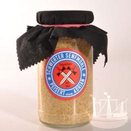 Scharfer Senf Senf, im Glas, kräftiger Senf zu Rouladen, Würstchen, Soßen, Schwerter Senfmühle, 185ml - Bremer Gewürzhandel -