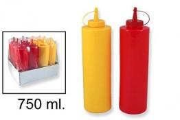 takestop® Set 2Stück Flaschen 750ml Flasche Dosierer Spender Saucen Öl Ketchup Senf Mayonnaise für Pub Küche Gebäck -