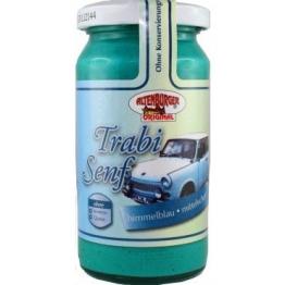 Trabisenf - himmelblau und mittelscharf - Kult und Spaß Senf glutenfrei - 200 ml -